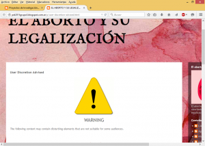 Personalización del blog acerca del aborto. Se advierte sobre el contenido
