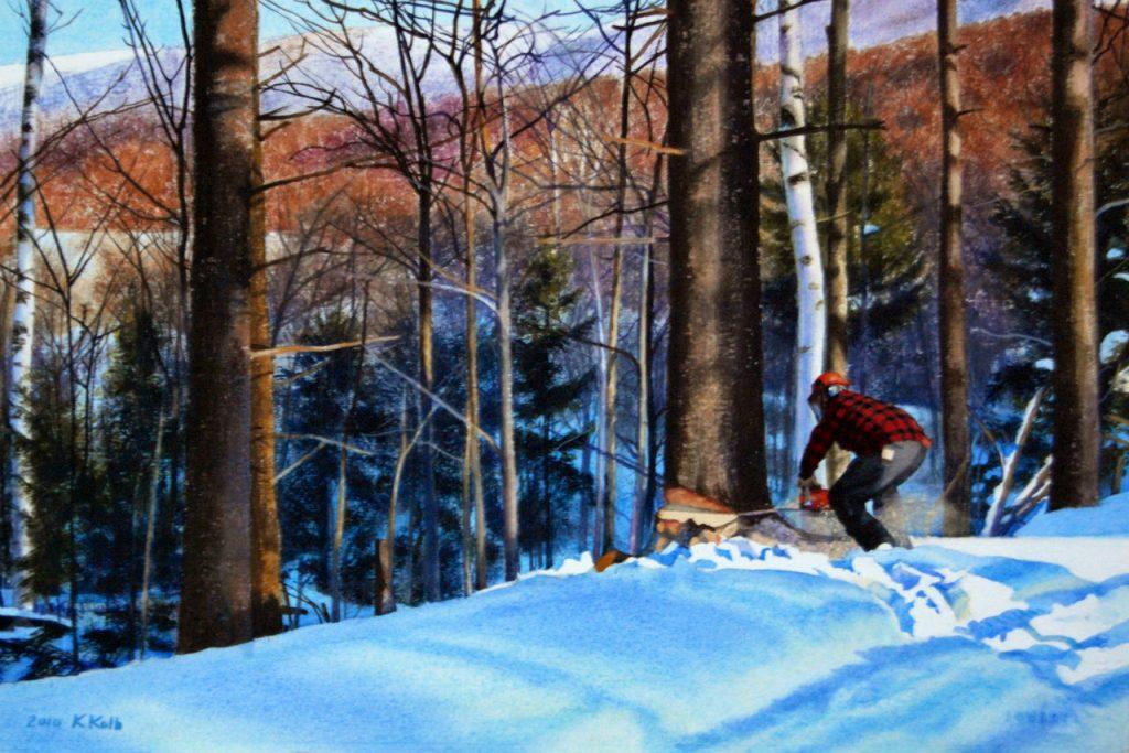 Lumberjack felling a tree