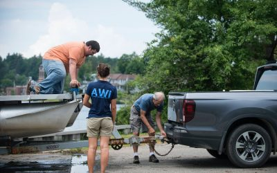 AWI stewards intercept hydrilla on personal watercraft trailer at Upper Saranac Lake