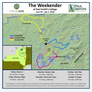 Map of The Weekender bike routes.