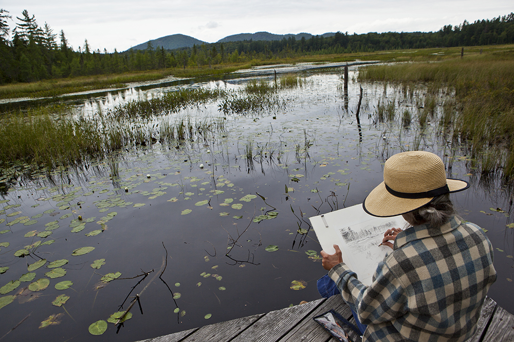 Plein Air painter/artists at the VIC Paul Smith's NY, summer 2012. photo by Nancie Battaglia