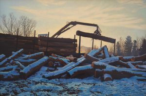Grappling Logs at Dawn by Kathleen Kolb
