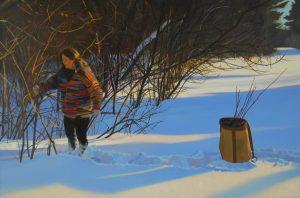 Harvesting Red Osier 12x18 oil, artist Kathleen Kolb