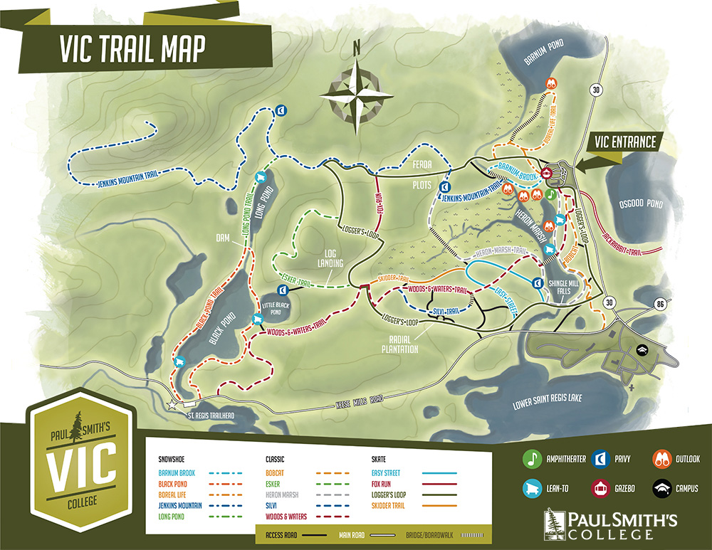 A trail map of the Paul Smith's College VIC.