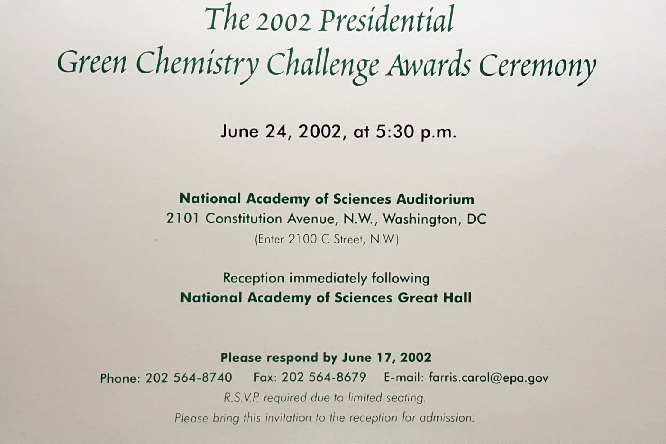 EPA Green Chemistry Award Invitation
