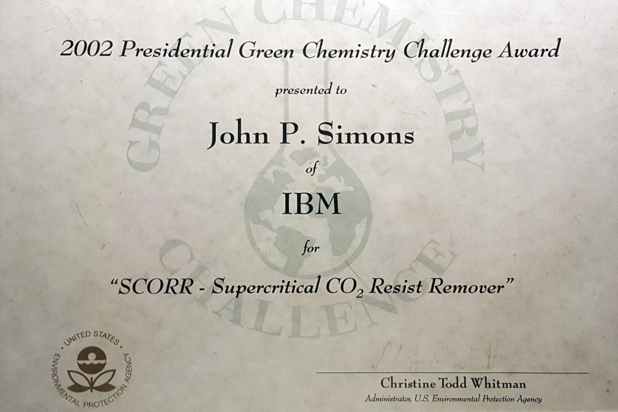 EPA Green Chemistry Award