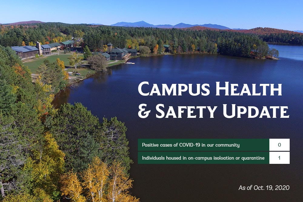 Campus Health & Safety Update: COVID-19 cases, 0; people in quarantine on campus, 1.