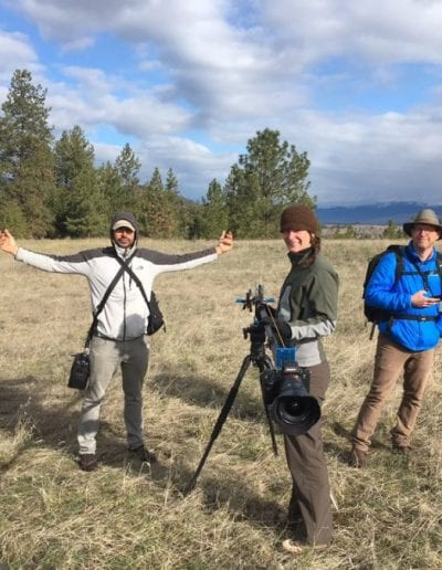 Dr. Eidem and her science filmmaking team in the prairies of Montana participating in the 2017 International Wildlife Film Festival.